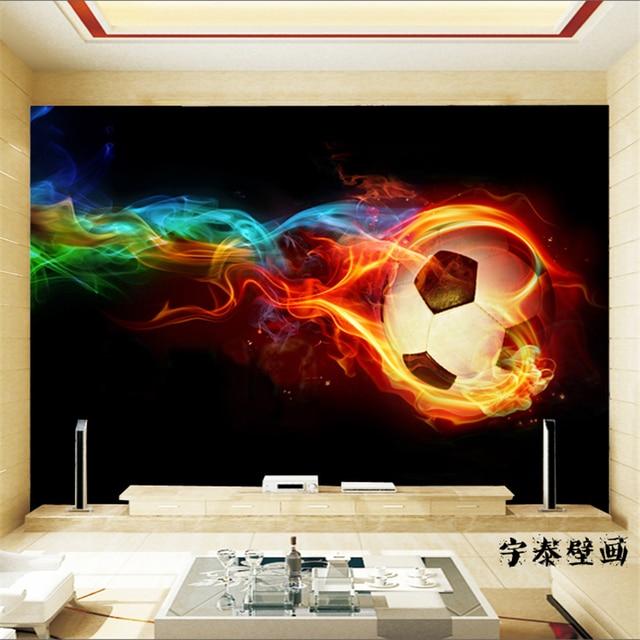 beibehang 3d wall paper Soccer wall murals large shock 3d stereo