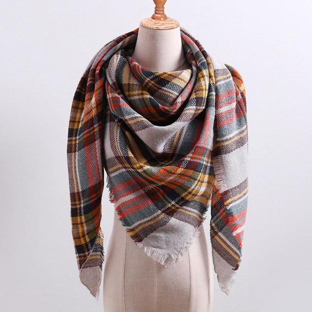 Designer 2018 knitted spring winter women scarf plaid warm cashmere scarves shawls luxury brand neck bandana  pashmina lady wrap