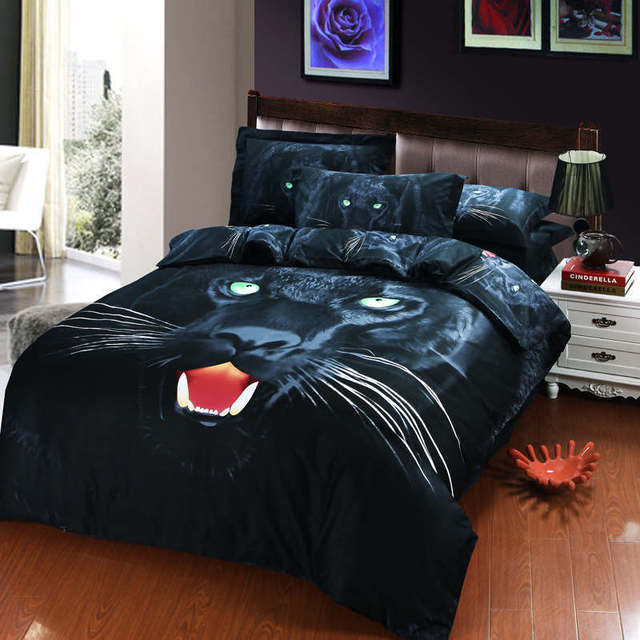 Ordinaire Black Panther Animal Print 3d Oil Painting Bedding Set Queen Size For Boyu0027s Home  Decor Egyptian