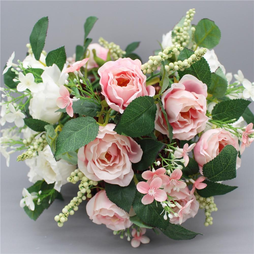 New High Quality Christmas Rose Wreath Silk PE Artificial Flowers Party Wedding Hair Wreaths Home Decorative Berry Flower Wreath
