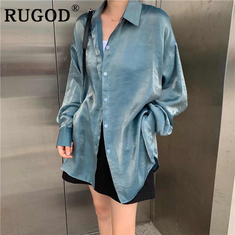 RUGOD Vintage Chic Gradient Women Shirts  Elegant Turn-down Collar Blouse Ladies Bluzki Damskie Koreean Tops Roupas Feminina