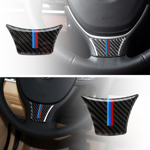 Car Styling Carbon Fiber Steering Wheel Sticker M stripe Emblem 3D Sticker Trim For BMW 5 7 series F10 F18 F01 F07 2011 - 2017(China)
