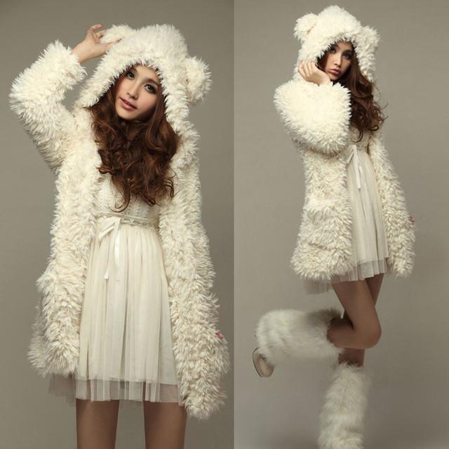 2017 Mulheres Engrossar casaco de Lã Casaco Da Moda Outerwear Inverno Quente Hoodies Ouvidos Urso Encapuzados Chaquetas Mujer Plus Size
