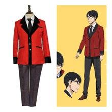 Anime Kakegurui: Compulsive Gambler Manyuuda Kaede Suzui Ryota Cosplay Costume Custom S-XL Red Jacket Tie Pants Academy Uniform