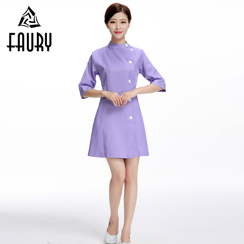 Half Sleeve Nurse Work Wear Dress Dental Clinic Hospital Surgeon Uniforms Beauty Salon Beautician Clothing Medicos Medical Gown
