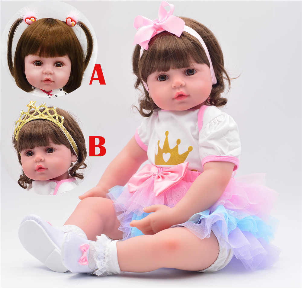"60cm Silicone Reborn Toddler Toy 24"" Lifelike Vinyl Bebe reborn bonecas Princess Girl Baby Doll High Quality Birthday Gift"