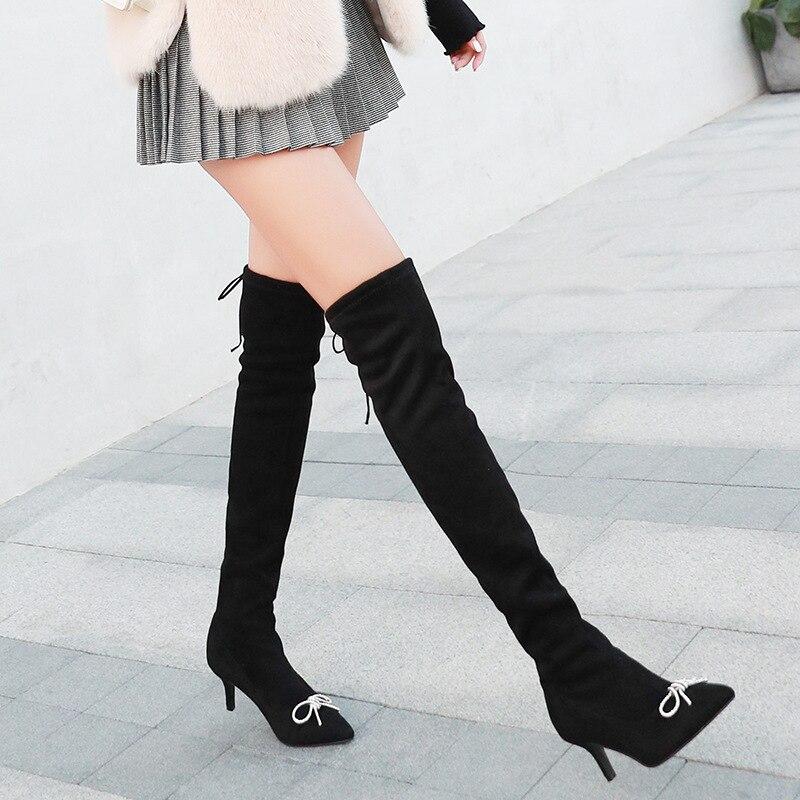 2018 Solo Rodilla Invierno Negro Bowknot 35 Del Boots Boot Moda 39 Sobre Mujeres Suede Señora up Pie Largo Lace Zapatos La Dedo tw7WfAnqF