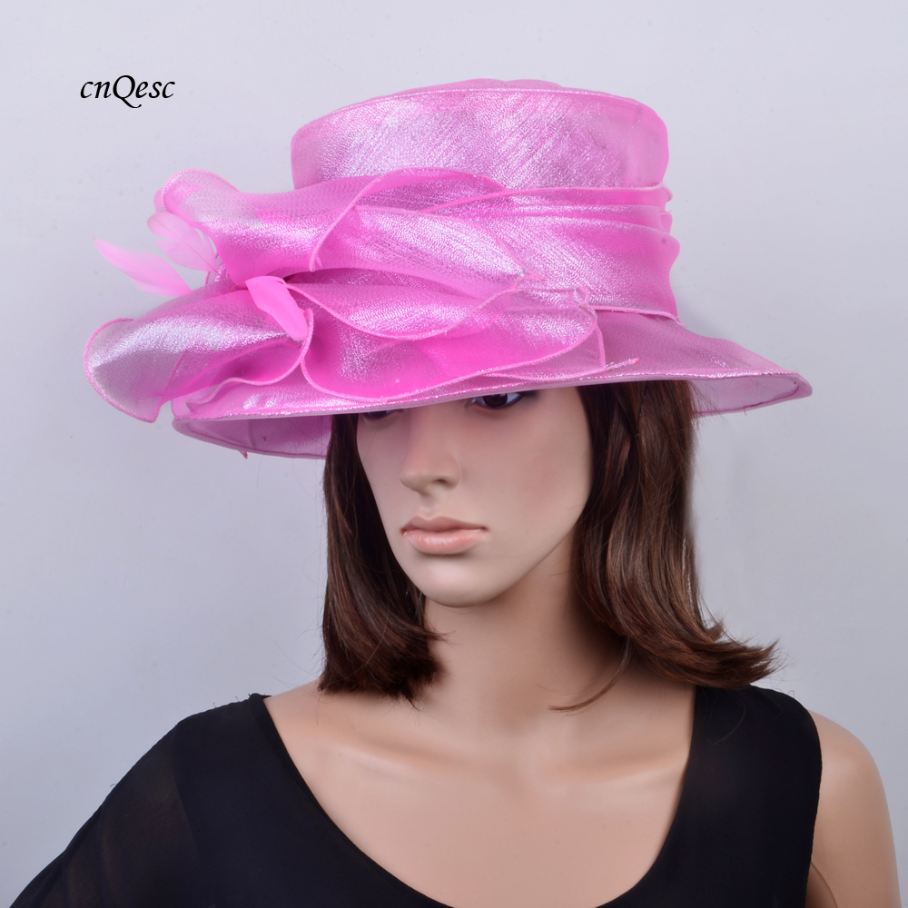 Pink bridal hat organza hat  dress hat for wedding,Kentucky Derby,Ascot Races,Melbourne Cup,Church,.brim width 10cm.