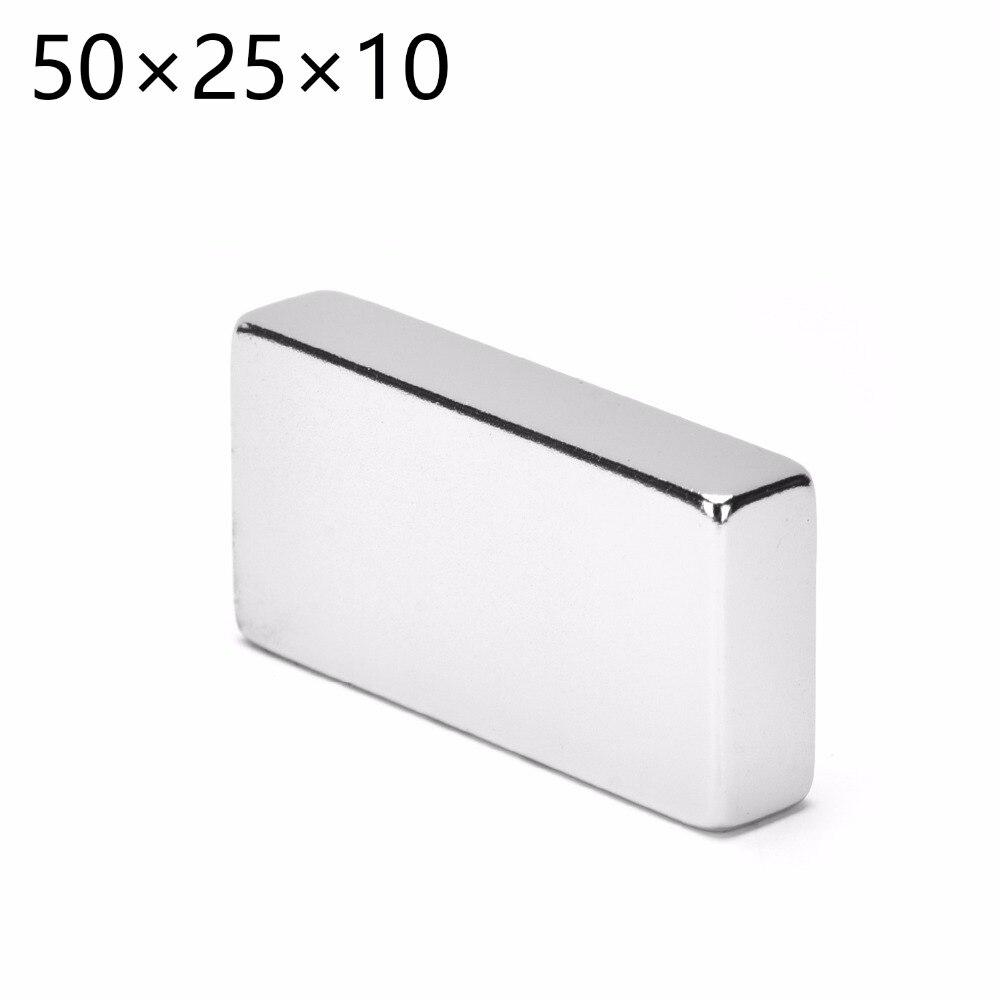 N52 Magnetics 1PCS Big Bulk Super Strong Strip Block Magnets Rare Earth Neodymium 50 x 25 x 10 mm 50*25*10mm(China)