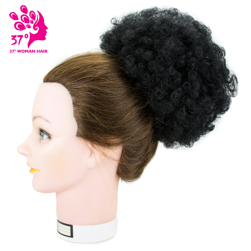 8 polegada Afro Crespo Curto Encaracolado Envoltório Cordão Sopro Peruca Sintética da Extensão Do cabelo Rabo de Cavalo Bun Chignon Fios Aéreos