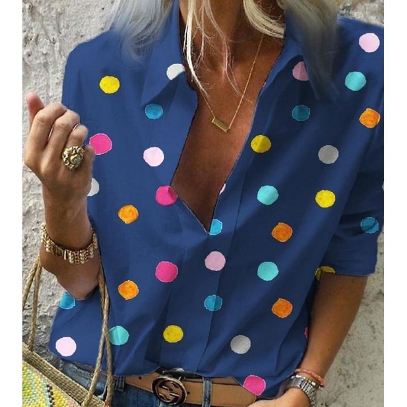 LISALA Long Sleeve V Neck Shirt Print Polka Dot Blouse Women Fashion Shirts OL ladies Tunic Blusa 5XL in Blouses amp Shirts from Women 39 s Clothing