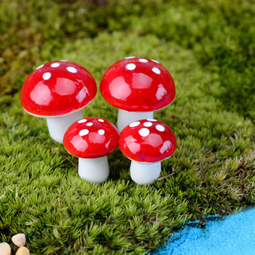 10pcs mini red mushroom garden ornament miniature plant for Diy miniature garden accessories