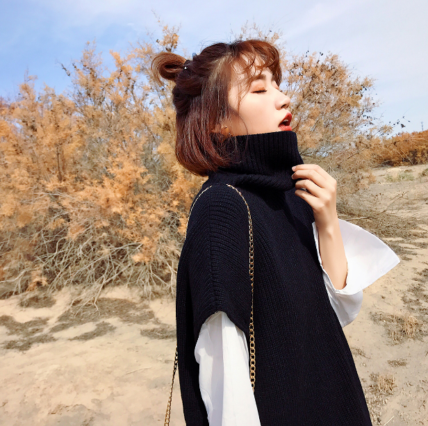2018 Special Offer Poncho Pull Pullover Women Sleeve Turtleneck Womens Jumpers Slim Solid Sweaters Sweater With Shirt Two Sets