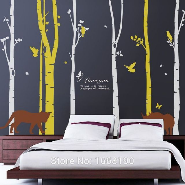 large australian forest family tree wall decals tiger,rhinoceros for