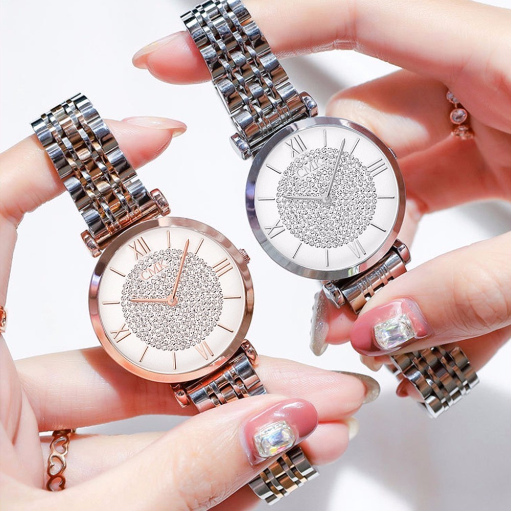 Women Dress Bracelet Watches Minimalist Style Rhinestone Diamond Ladies Quartz Clock Casual Steel Belt Waterproof Wristwatch Top