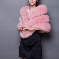 Winter Luxury Faux Fur Coats Women fox fur imitation mink fur poncho bridal wedding dress shawl cape women vest fur coat 2018