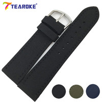 TEAROKE Canvas Nylon Leather Watchband 18mm 20mm 22mm 24mm Design Army Green Pin Buckle Watch Band