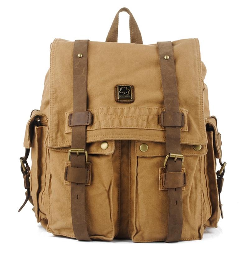 Vintage Crazy horse Leather Cotton Canvas Backpack Men Backpack male Rucksack Women Backpack Leather Bagpack knapsack