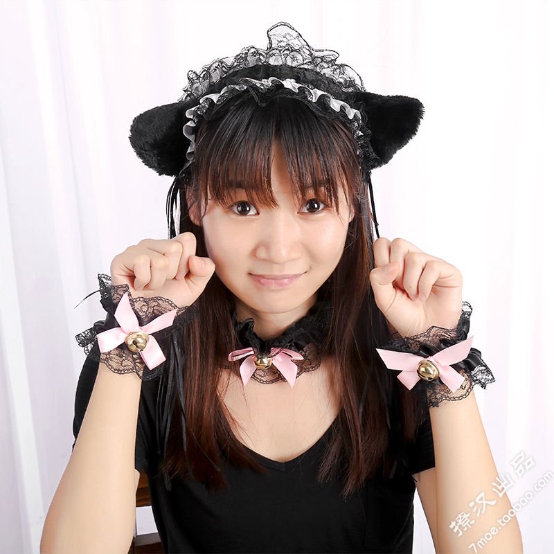 Princess Sweet Lolita Lace Hairbands Bell Cat Ears Headband Maid Lace Headbands Hair Hoop Hair Accessories for Women Girl