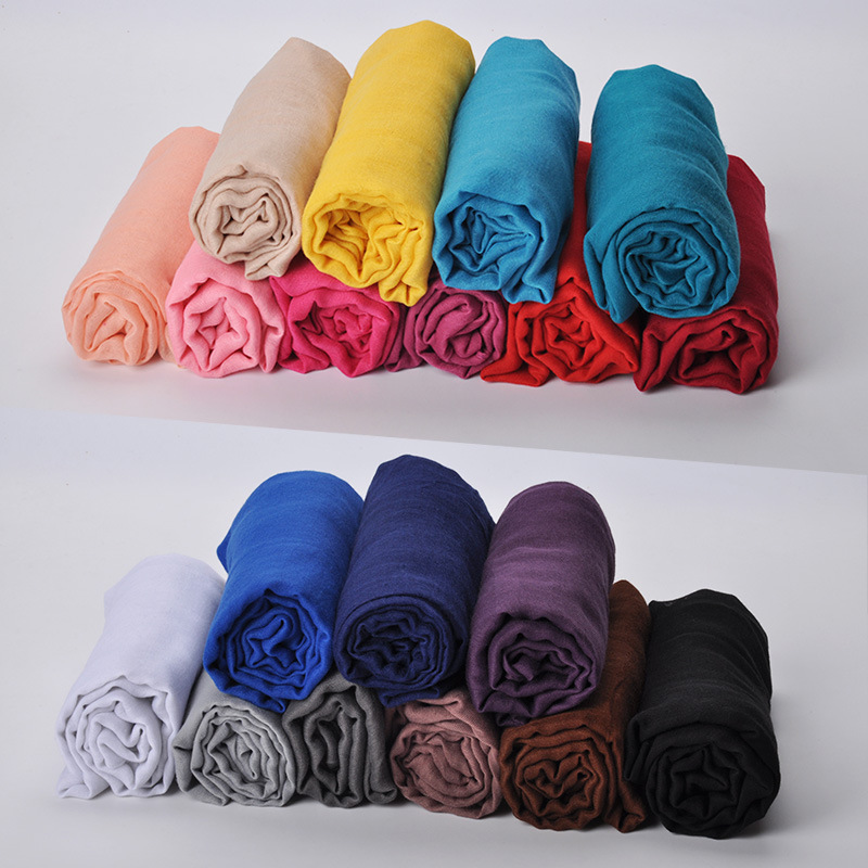 FOXMOTHER DropShopping 2018 New Winter Women Purple Pink Plain Color Muslim Hijab Scarf Wrap Female