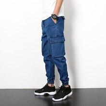 Japanese Harajuku retro spring men jeans pockets elastic cargo pants denim pant men Hip hop Joggers