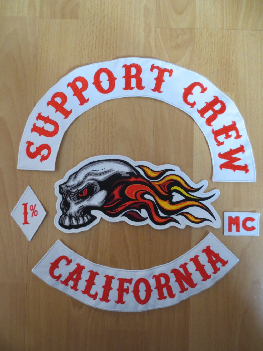 Original Embroidery Patches for Jacket Motorcycle Club Biker MC Red and White SUPPORT CREWOriginal Embroidery Patches for Jacket Motorcycle Club Biker MC Red and White SUPPORT CREW