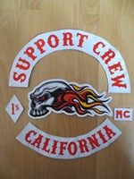 Original Embroidery Patches for Jacket Motorcycle Club Biker MC Red and White SUPPORT CREW