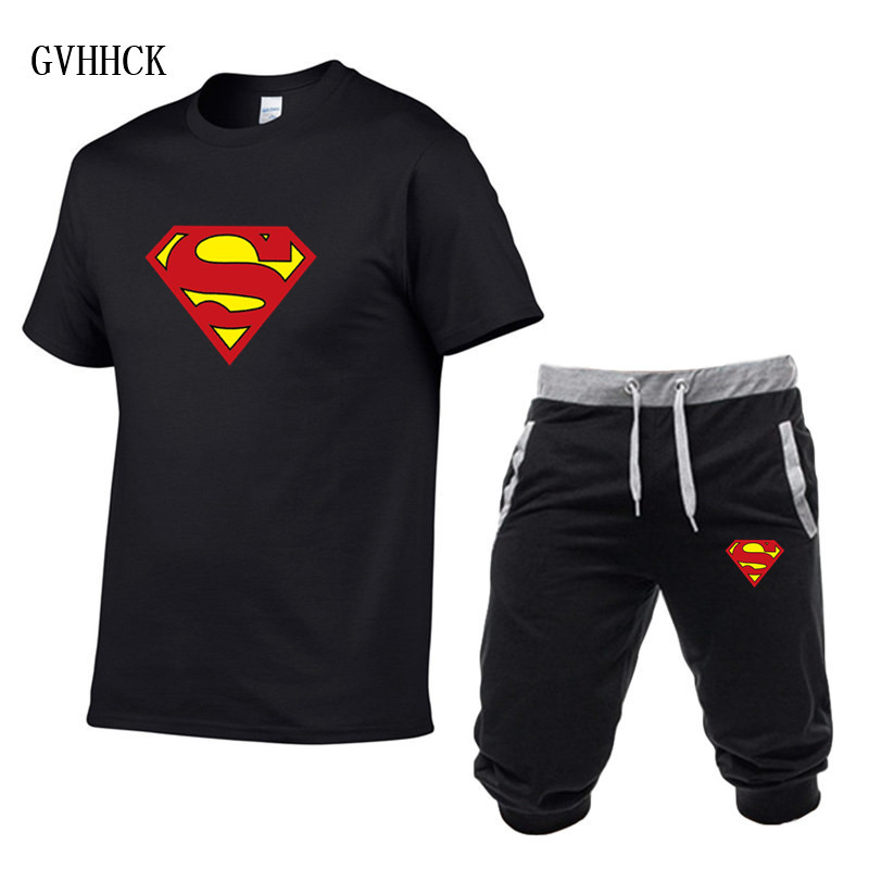 Summer Short Sets Men Casual Suits Sportswear Tracksuit Superman Male Outwear Homme Fitness Camisetas Hip Hop T Shirt +Pants
