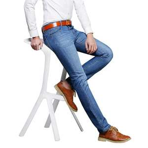Straight Jeans Fashion-Brand Blue for Men's To Increase-The-Code Self-Cultivation Elastic
