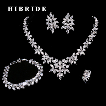 HIBRIDE Luxury Leaf Shape Cubic Zircon Bracelet/Ring/Earring/Necklace Women Jewelry Sets With 4 pieces Wedding Gifts N-206