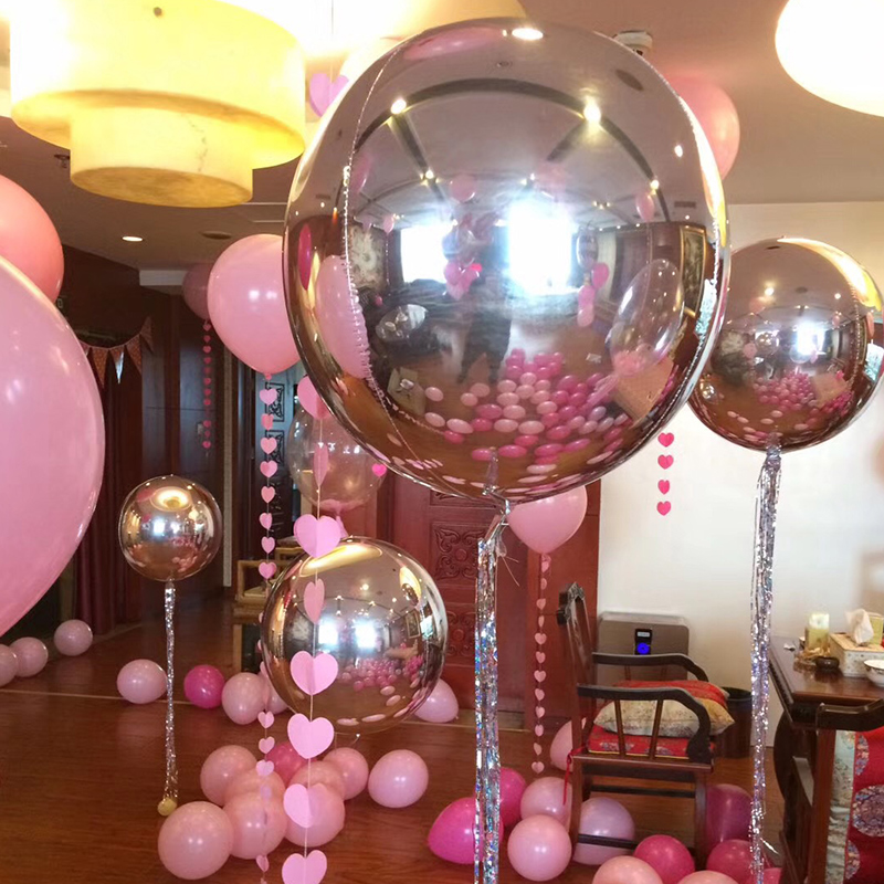 Free Shipping Creative <font><b>22</b></font> inch 4 D Round Sphere Shaped Aluminum Foil Balloon Wedding Marriage <font><b>Birthday</b></font> Party Decor Supplies image