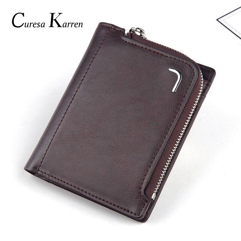 Men's Wallet Short Coin-Purse Zipper-Bag Multi-Card Fashion Large-Capacity Classic Retro