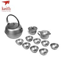 Keith Titanium 12Pcs In 1 Chinese KongFu Tea Set Strainer Portable Outdoor Camping Cup Drinkware Ultralight 1.5L 522g Ti3930