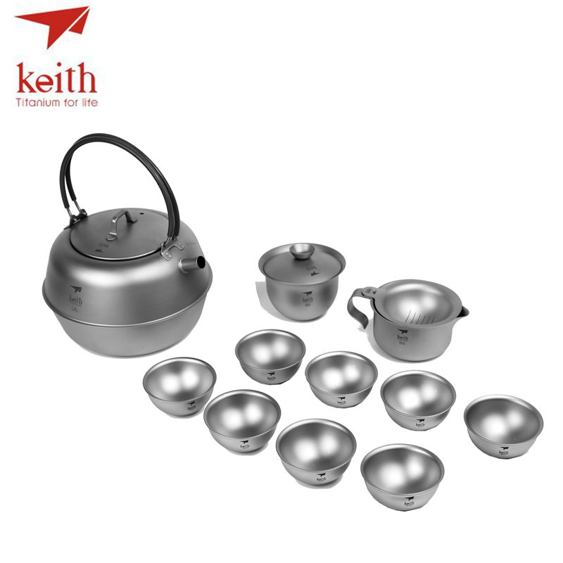 Keith Titanium 12 pièces en 1 chinois KongFu thé Set crépine Portable en plein air Camping tasse Drinkware ultraléger 1.5L 522g Ti3930