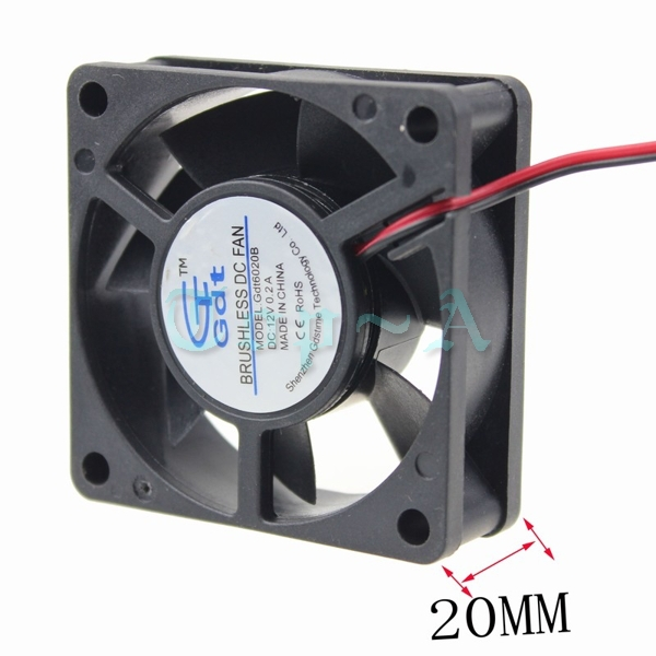 Gdstime 2 pcs/lot DC 12V 2Pin 6cm 6020 Ball Bearing PC CPU Computer Case Cooling Cooler Fan 60mmx60mmx20mm free shipping original delta afb0612vhc 6cm 60mm 6013 6 6 1 3cm 60 60 13mm 12v 0 36a dual ball bearing cooling fan specials