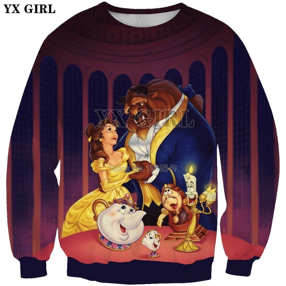 YX GIRL Drop Shipping 2019 New 3d Fashion Sweatshirt Comic Patterns Beauty Beast Printed Men Women Casual Pullovers