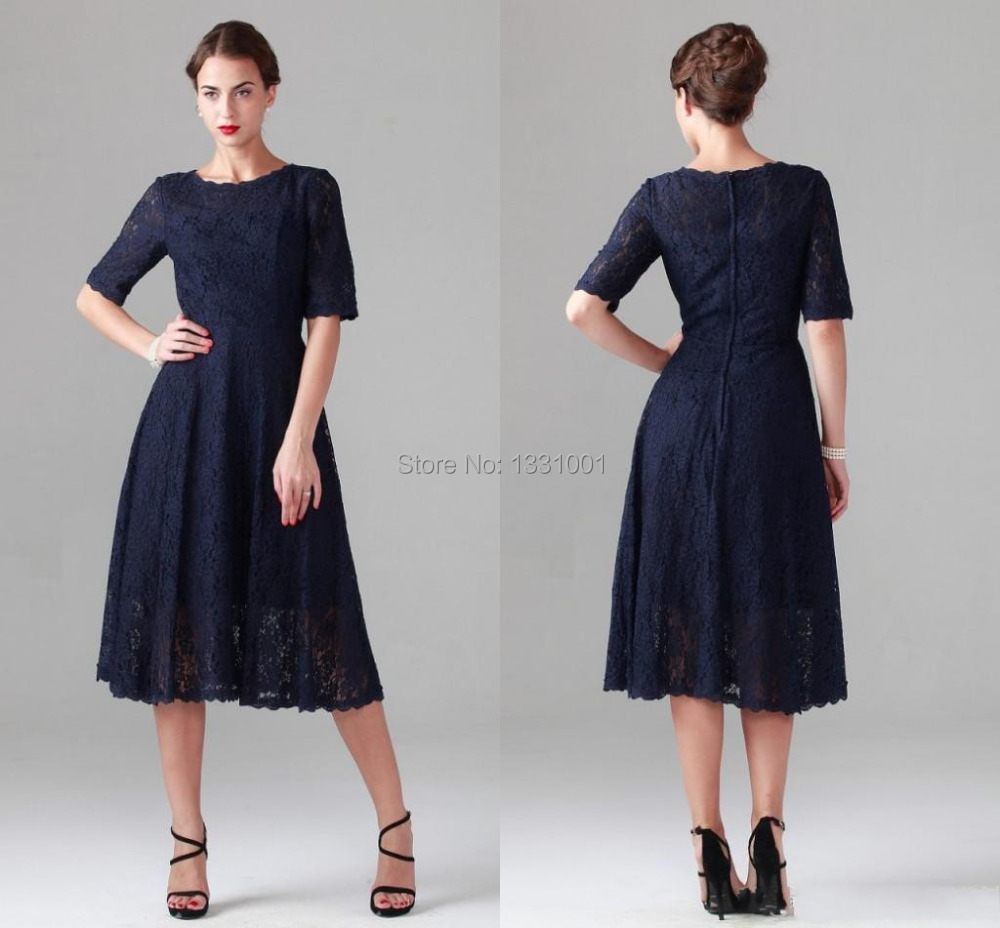Aliexpress.com : Buy Navy Blue Lace Tea Length Mother Of The Bride ...