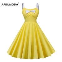 Retro Vintage Summer Dress Women Yellow Spaghetti Strap Casual Rockabilly Dresses Solid Party Pleated Big Swing Hepburn Dresses