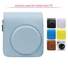 واقية بو الجلود الكلاسيكية حقيبة الكاميرا مع حزام الكتف ، متوافقة ل Fujifilm Instax Mini 70 كاميرا فورية