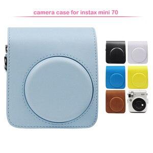 Image 1 - Sac de protection classique en cuir pour appareil photo avec bandoulière, Compatible pour appareil photo instantané Fujifilm Instax Mini 70