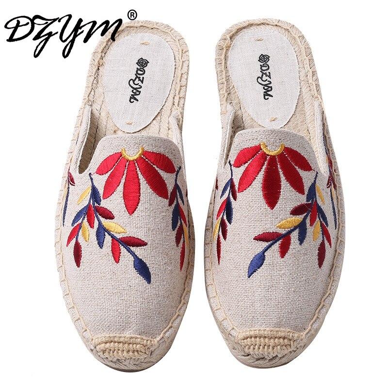DZYM 2019 Verão Bordado Mulheres Pescador Sapatos Chinelos Chinelos de Linho Grama Da Folha de Cânhamo Linho Lona Alpercatas Zapatos Mujer