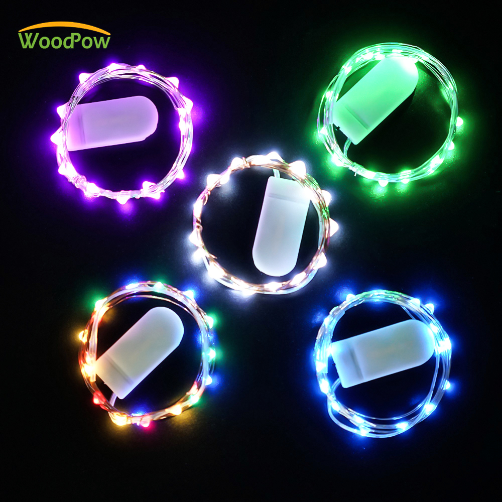 WoodPow 1M 2M 3M Waterproof Graland LED String Cooper Wire Fairy Light CR2032 Battery Christmas Tree Wedding Party Decoration