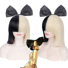 This is Acting SIA Anime Cosplay Wig Synthetic Hair Women Straight Halloween Half Blonde Black Short Bob Wigs With Bangs 35cm(China)