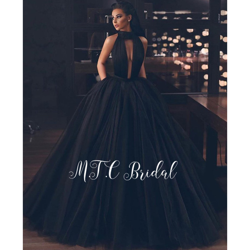 Sexy Backless Black Tulle   Evening     Dress   High Slit A Line Floor Length With Pockets 2019 Newest Prom Gowns Vestido De Festa Cheap