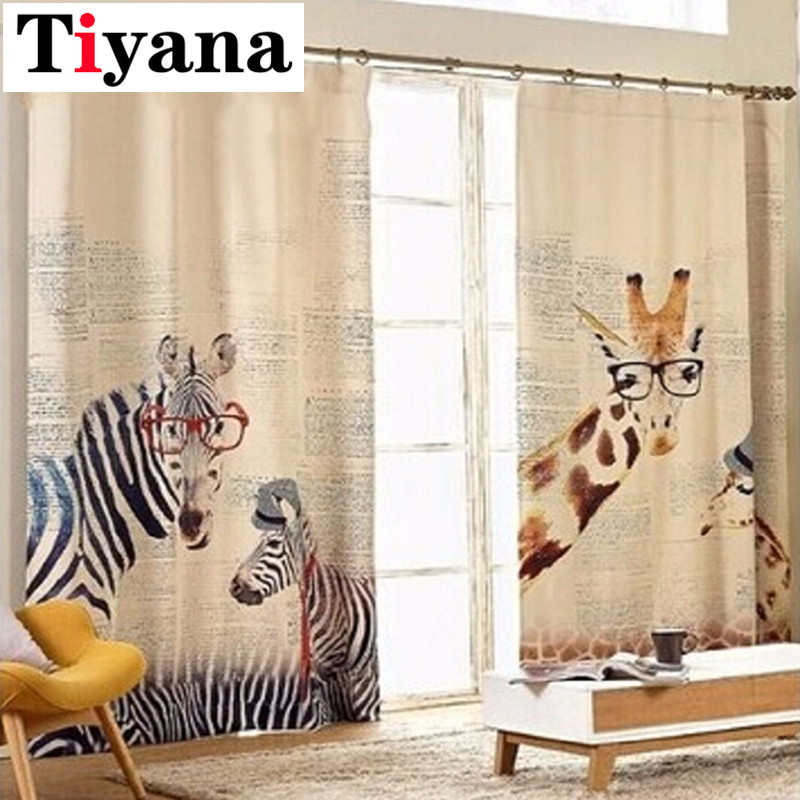 (Width:1.3m,Height:2.4m ) cartoon zebra and Giraffe finished hook process curtains animal print blackout blind curtain P210D2
