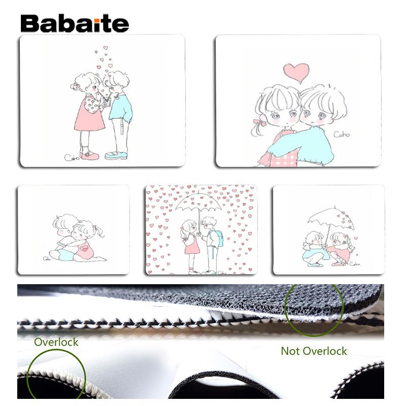 Babaite Little boy and little girl cartoon image Silicone Pad to Mouse Game Size for 25x29cm Speed Mouse Pad