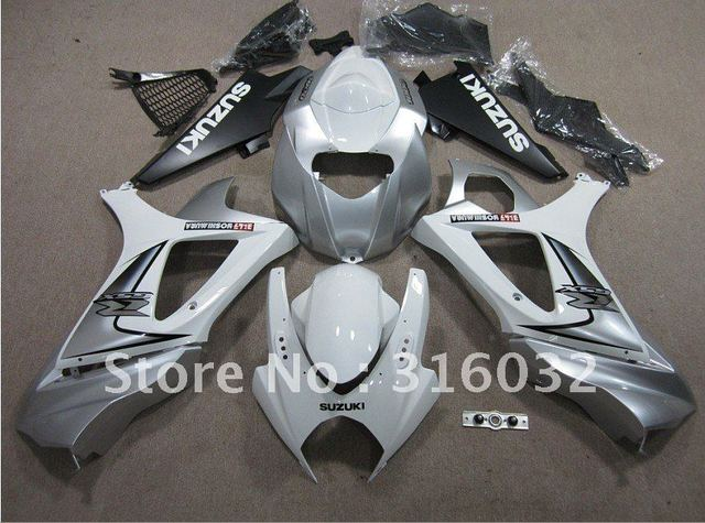 ABS INJECTION Silver and White Bodywork  fairing  For Suzuki  GSXR1000 GSX-R1000  2007 2008 K7