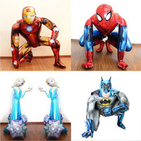 1pcs 3D Spiderman Iron Batman Airwalker Foil Helium Balloons Avengers Hero Birthday Party Decor Supplies Children