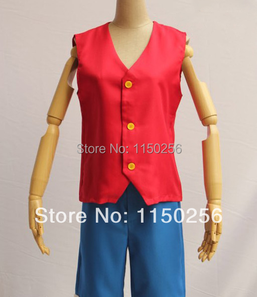 Free Shipping New One Piece Monkey D. Luffy Grow Up Cosplay Costume Top Vest + Pants New A Set Suit