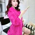 Piel Natural abrigo de piel de invierno 2016 nuevo abrigo de pieles de las mujeres toda la piel Coreano Camiseta Larga Delgada